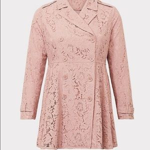 Torrid Pink Lace Trench coat